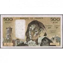 F 71-24 - 04/06/1981 - 500 francs - Pascal - Série B.141 - Etat : TB