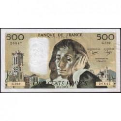 F 71-29 - 02/06/1983 - 500 francs - Pascal - Série G.192 - Etat : TB+