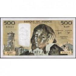 F 71-31 - 05/07/1984 - 500 francs - Pascal - Série N.207 - Etat : TTB