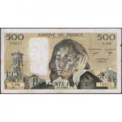 F 71-31 - 05/07/1984 - 500 francs - Pascal - Série S.209 - Etat : TB-