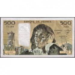 F 71-31 - 05/07/1984 - 500 francs - Pascal - Série J.211 - Etat : TB+
