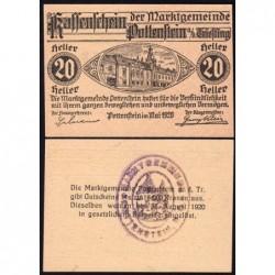 Autriche - Notgeld - Pottenstein - 20 heller - 05/1920 - Etat : NEUF