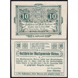 Autriche - Notgeld - Riedau - 10 heller - 21/03/1920 - Etat : NEUF