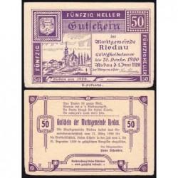 Autriche - Notgeld - Riedau - 50 heller - 21/03/1920 - Etat : TTB