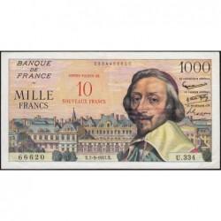 F 53-01 - 07-03/1957 - 10 nouv. francs sur 1000 francs - Richelieu - Série U.334 - Etat : TTB+