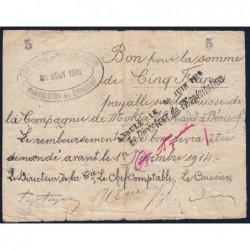 Algérie - Béni-Saf 6 - 5 francs - 04/08/1914 - Etat : TB