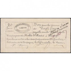 Algérie - Béni-Saf 7 - 20 francs - 04/08/1914 - Etat : TTB+ à SUP