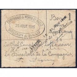 Algérie - Béni-Saf 12 - 1 franc - 25/08/1915 - Etat : TB+