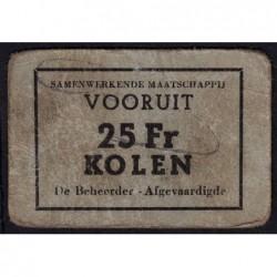 Belgique - Gand - GE non rép. - 25 francs - Charbon - Etat : TB+