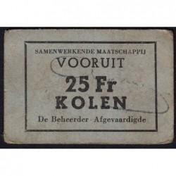 Belgique - Gand - GE non rép. - 25 francs - Charbon - Etat : TTB+