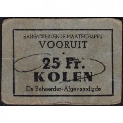 Belgique - Gand - GE non rép. - 25 francs - Charbon - Etat : TTB