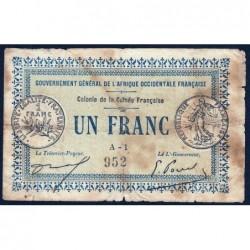 Guinée - Pick 2a_1 - 1 franc - 11/02/1917 - Etat : B+ à TB-