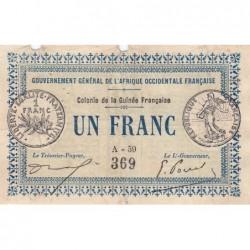 Guinée - Pick 2a_1 - 1 franc - 11/02/1917 - Etat : TB