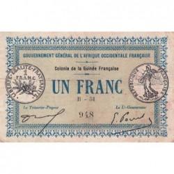 Guinée - Pick 2a_2 - 1 franc - 11/02/1917 - Etat : TB+