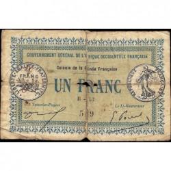 Guinée - Pick 2a_2 - 1 franc - 11/02/1917 - Etat : B