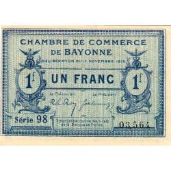 Bayonne - Pirot 21-64 - 1 franc - Série 98 - 17/11/1919 - Etat : TTB