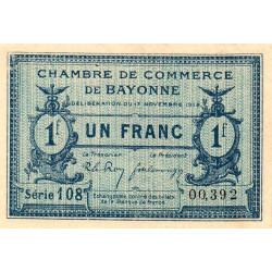 Bayonne - Pirot 21-64 - 1 franc - Série 108 - 17/11/1919 - Etat : SUP+