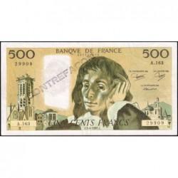 F 71-33 - 03/04/1985 - Faux 500 francs - Pascal - Série A.163 - Etat : TTB+