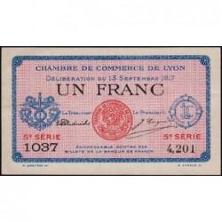 Lyon - Pirot 77-15 - 1 franc - 5e série 1037 - 13/09/1917 - Etat : SUP