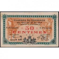 Toulon - Pirot 121-22 - 50 centimes - 4e émission - Série R 465 - 20/09/1917 - Etat : TTB