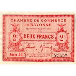 Bayonne - Pirot 21-68 - 2 francs - Série JJ - 05/05/1920 - Etat : SUP