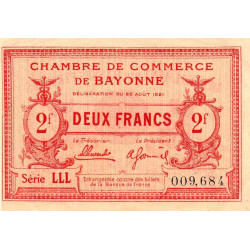 Bayonne - Pirot 21-72 - 2 francs - 1921 - Etat : SUP