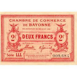 Bayonne - Pirot 21-72 - 2 francs - Série LLL - 26/08/1921 - Etat : SUP