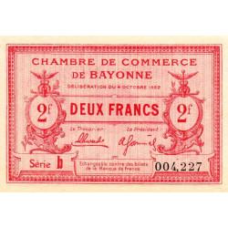 Bayonne - Pirot 21-75 - 2 francs - Série b - 04/10/1922 - Etat : SPL+