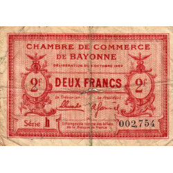 Bayonne - Pirot 21-75 - 2 francs - Etat : B+