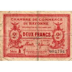 Bayonne - Pirot 21-75 - 2 francs - Série h - 04/10/1922 - Etat : B+