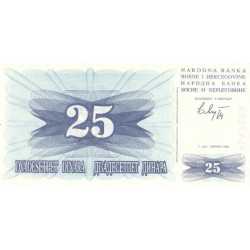 Bosnie Herzegovine - Pick 11 - 25 dinara - 1992 - Etat : NEUF