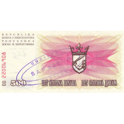 Bosnie Herzegovine - Pick 14 variété - 500 dinara - 1992 - Etat : NEUF