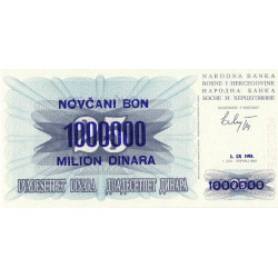 Bosnie Herzegovine - Pick 35a - 1'000'000 dinara sur 25 dinara - 1993 - Etat : NEUF