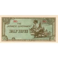 Birmanie - Pick 13b - 1/2 rupee - 1942 - Etat : SPL