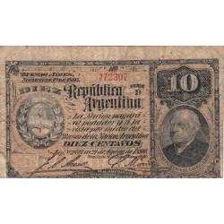 Argentine - Pick 210_5 - 10 centavos - Série D - 1891 - Etat : TB-