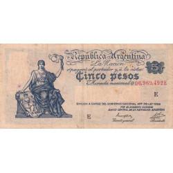 Argentine - Pick 252c - 5 pesos - Série E - 1935 - Etat : TB+