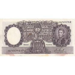 Argentine - Pick 279b - 1'000 pesos - Série D - 1966 - Etat : TB