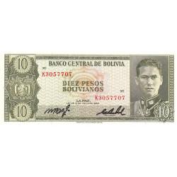 Bolivie - Pick 154a_17 - 10 pesos bolivianos - Loi 1962 - Etat : NEUF