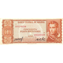 Bolivie - Pick 162a_19 - 50 pesos bolivianos - Loi 1962 - Etat : TTB