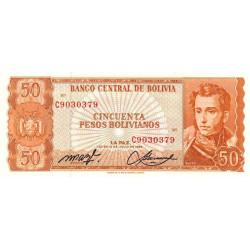 Bolivie - Pick 162a_20 - 50 pesos bolivianos - Loi 1962 - Etat : NEUF