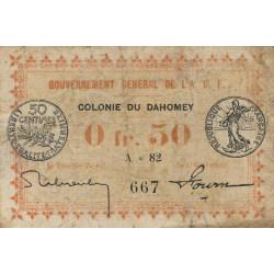 Dahomey - Pick 1a1 - 50 centimes - 1917