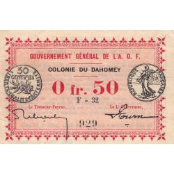Dahomey - Pick 1b - 50 centimes - 1917