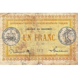 Dahomey - Pick 2a2 - 1 franc - 1917 - Etat : B