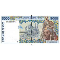 Bénin - Pick 213Bf - 5'000 francs - 1997 - Etat : NEUF