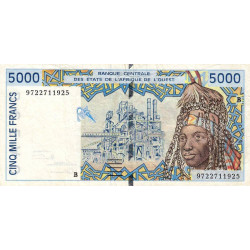 Bénin - Pick 213Bf - 5'000 francs - 1997 - Etat : TB+