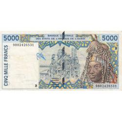 Bénin - Pick 213Bg - 5'000 francs - 1998 - Etat : TB+