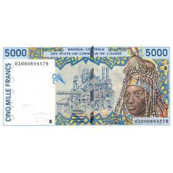 Bénin - Pick 213Bl - 5'000 francs - 2002