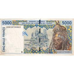 Bénin - Pick 213Bm - 5'000 francs - 2003 - Etat : TB+