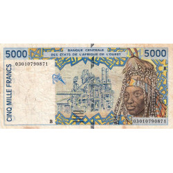Bénin - Pick 213Bm - 5'000 francs - 2003
