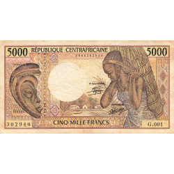 Centrafrique - Pick 12a - 5'000 francs - Etat : TB- à TB